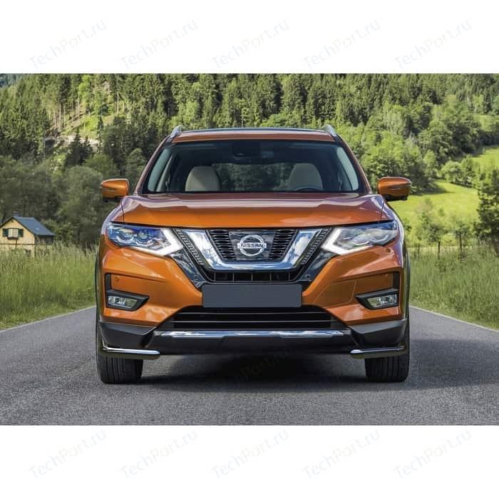 Защита переднего бампера d57 уголки Rival для Nissan X-Trail T32 рестайлинг (2018-н.в.), 2 части, R.4125.004