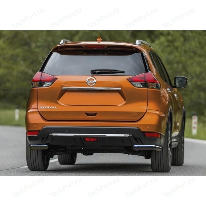 Защита заднего бампера d57 уголки Rival для Nissan X-Trail T32 рестайлинг (2018-н.в.), 2 части, R.4125.007