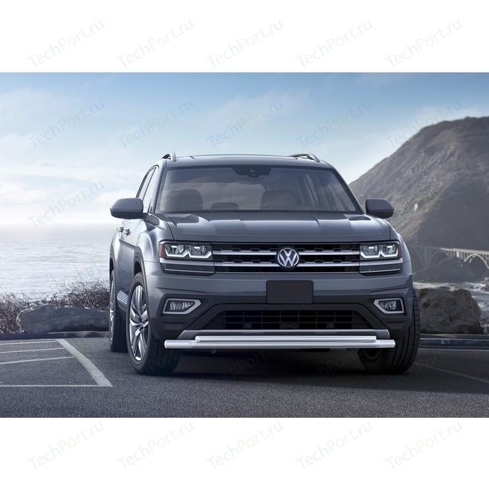 Защита переднего бампера d57+d42 Rival для Volkswagen Teramont I (2018-н.в.), R.5805.001