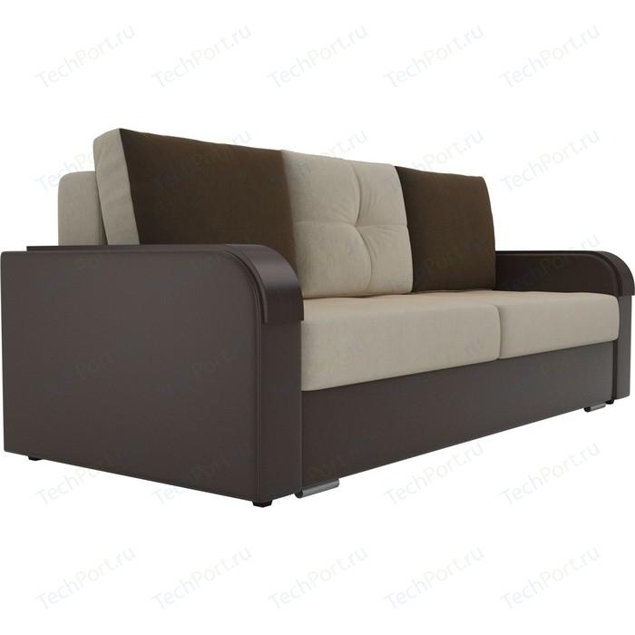 Прямой диван Лига Диванов Мейсон микровельвет бежевый экокожа коричневый
