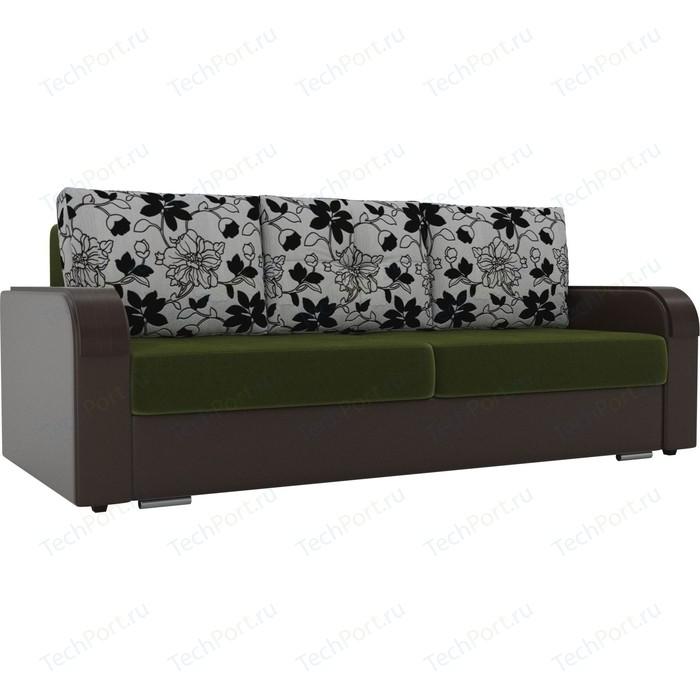 Фото - Прямой диван Лига Диванов Мейсон микровельвет зеленый экокожа коричневый подушки рогожка на флоке прямой диван лига диванов мейсон микровельвет коричневый экокожа бежевый