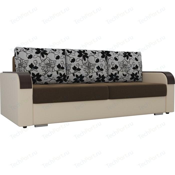 Прямой диван Лига Диванов Мейсон микровельвет коричневый экокожа бежевый подушки рогожка на флоке