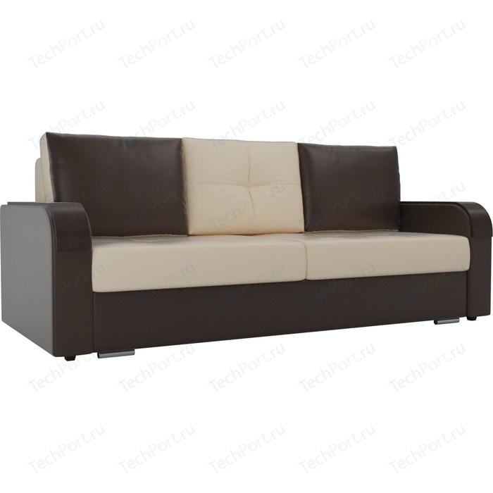 Прямой диван Лига Диванов Мейсон экокожа бежевый коричневый
