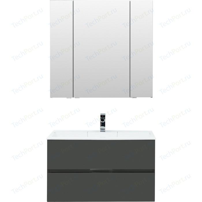 Мебель для ванной Aquanet Алвита 90 серый антрацит
