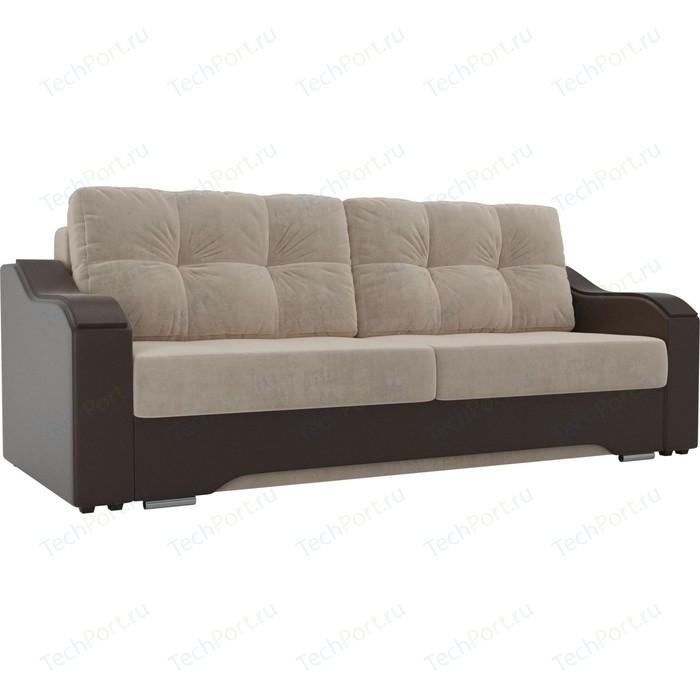 Прямой диван АртМебель Браун велюр бежевый, экокожа коричневый
