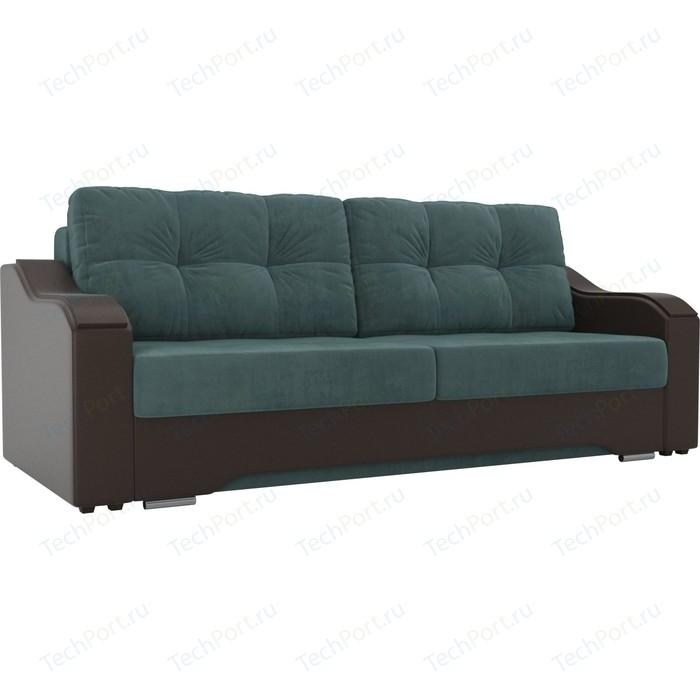 Прямой диван АртМебель Браун велюр бирюза, экокожа коричневый