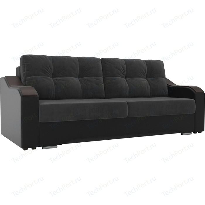 Прямой диван АртМебель Браун велюр серый, экокожа черный