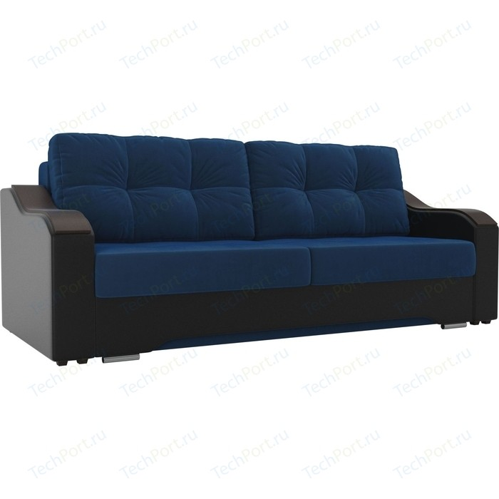 Прямой диван АртМебель Браун велюр голубой, экокожа черный