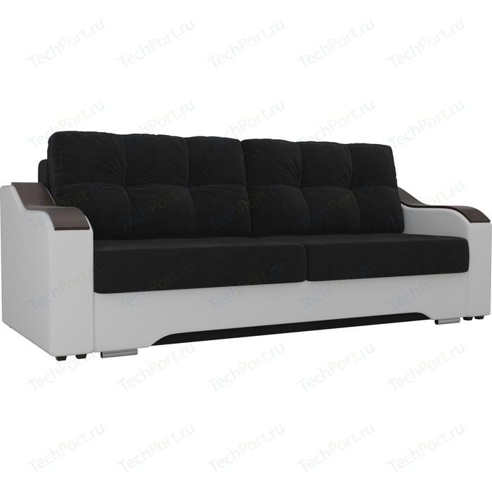 Прямой диван АртМебель Браун велюр черный, экокожа белый