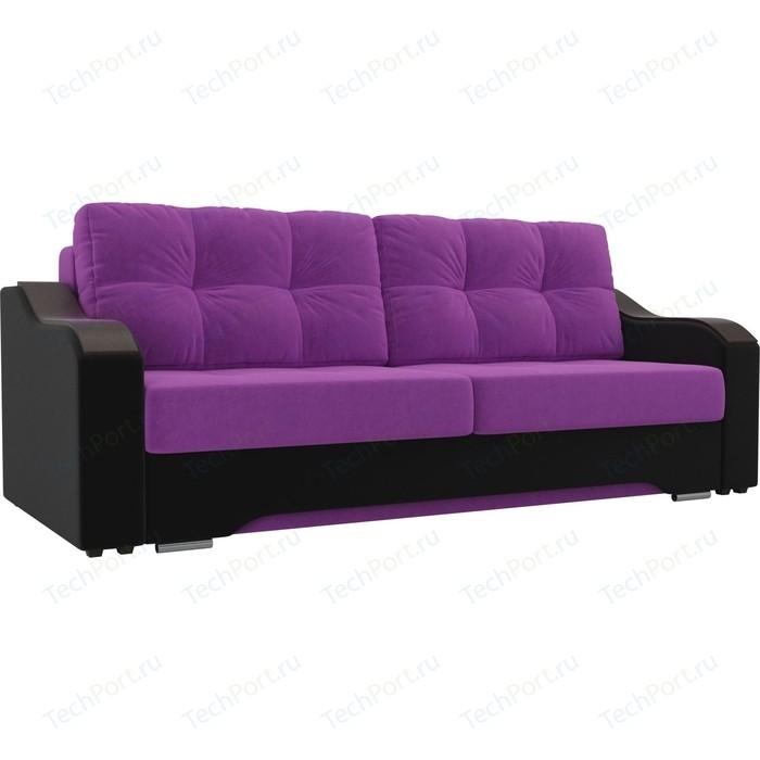 Прямой диван АртМебель Браун микровельвет фиолетовый/черный