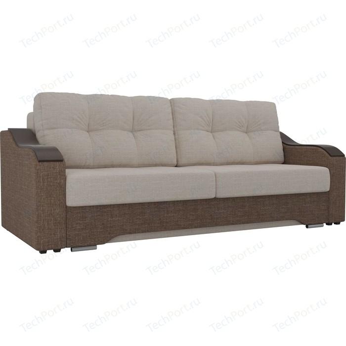 Прямой диван АртМебель Браун рогожка бежевый/коричневый