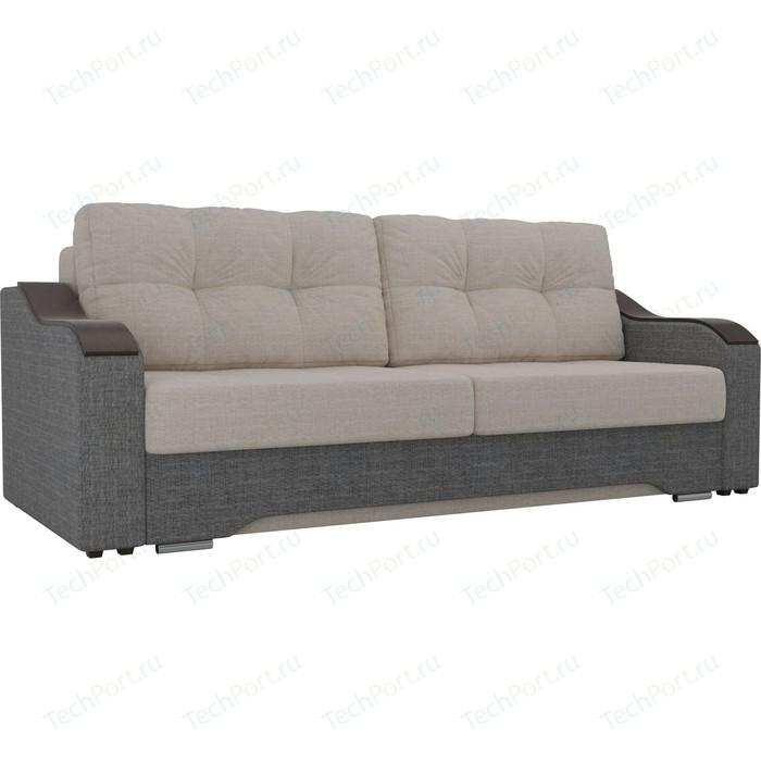 Прямой диван АртМебель Браун рогожка бежевый/серый