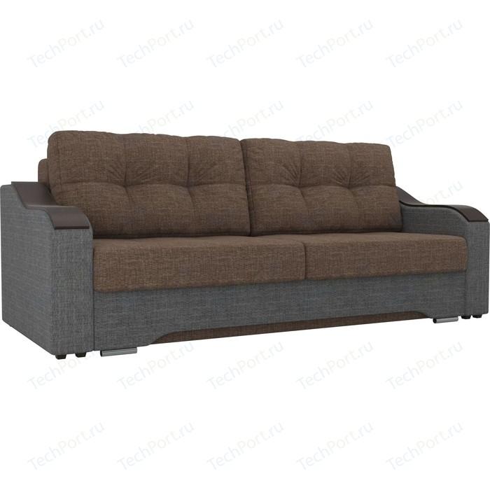 Прямой диван АртМебель Браун рогожка коричневый/серый