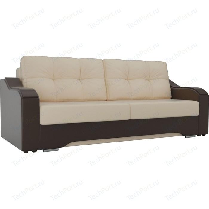 Прямой диван АртМебель Браун экокожа бежевый/коричневый