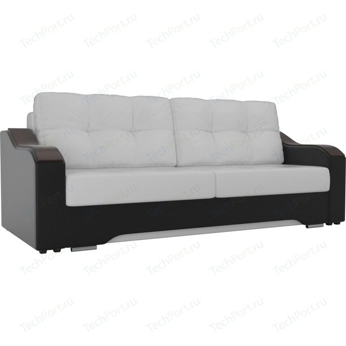 Прямой диван АртМебель Браун экокожа белый/черный