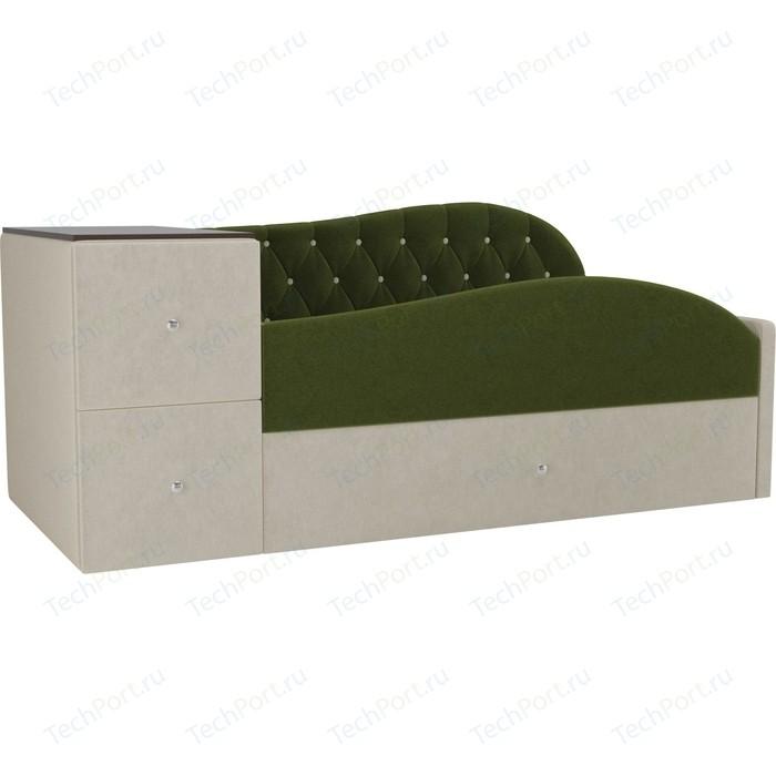 Детская кровать АртМебель Джуниор микровельвет зеленый/бежевый правый угол