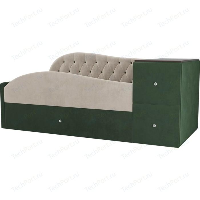 Детская кровать АртМебель Джуниор велюр бежевый/зеленый левый угол автомобильная шина michelin pilot sport 4 225 45 r18 95y runflat летняя