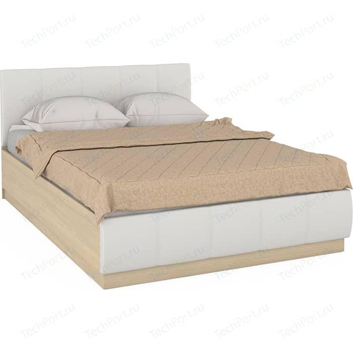 Кровать Моби Линда 303 140 дуб сонома/белая искусственная кожа 140х200 шкаф навесной моби линда 313 160 дуб сонома белый