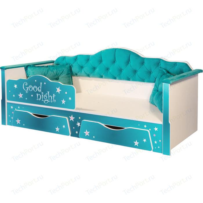 Кровать одинарная Моби Ноктюрн 180 01.34 белый/берген азуре 80х180