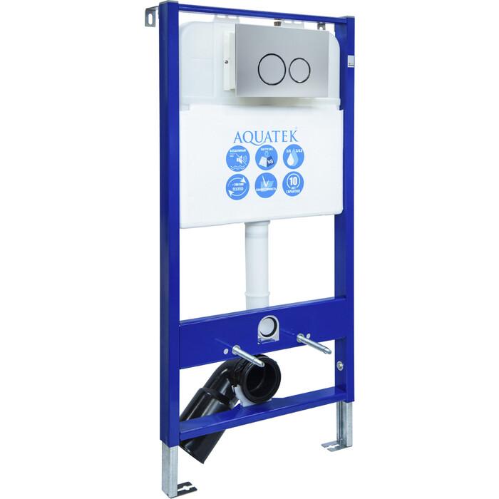 Инсталляция Aquatek Slim R с клавишей матовый хром (INS-0000006)