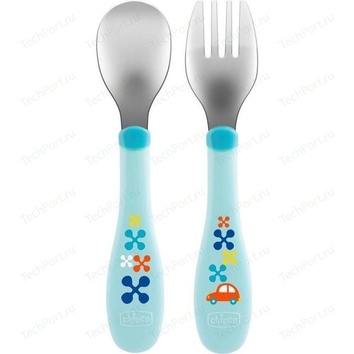Набор для кормления Chicco (ложка и вилка) 00016102200000, нерж. сталь,18 мес.+, голубой