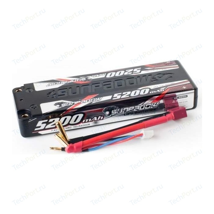 Аккумулятор Sunpadow Li-Po 2S1P 5200mAh 45C 90C T-Plug (Deans) SLIM Hardcase - SP-5200-2-45C-S-D