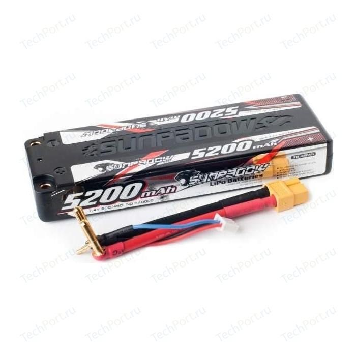 Аккумулятор Sunpadow Li-Po 2S1P 5200mAh 45C 90C XT60 SLIM Hardcase - SP-5200-2-45C-S-XT