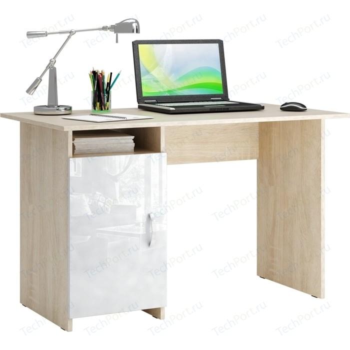 Стол письменный Мастер Милан-8 глянец (дуб сонома-белый) МСТ-СДМ-08-СБ-ГЛ