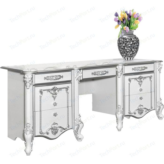 Стол туалетный Мэри Дольче Вита СДВ-05 белый глянец с серебром