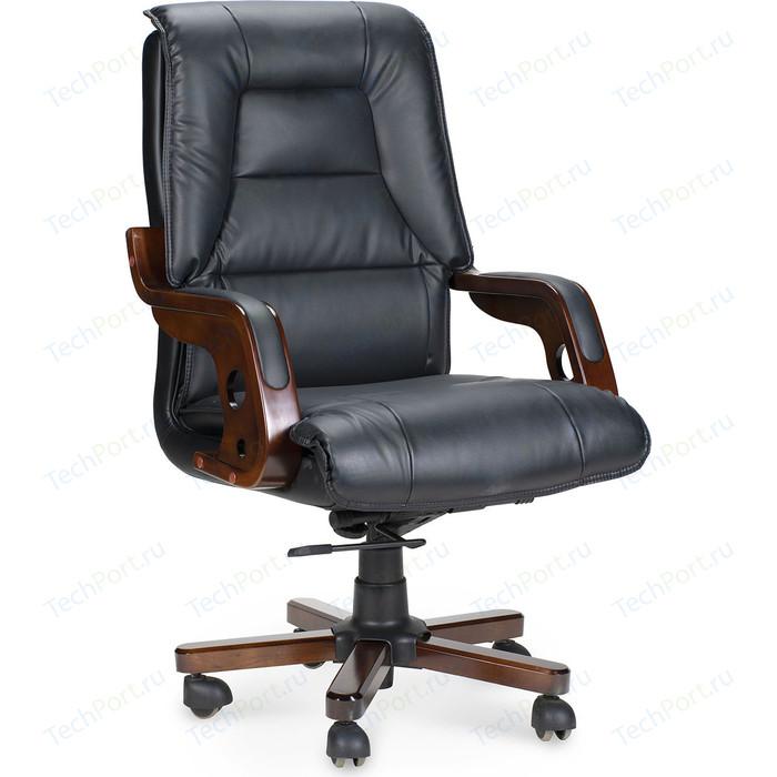 Кресло офисное NORDEN Аристократ дерево/черная экокожа