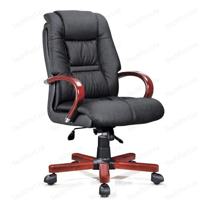 Кресло офисное NORDEN Берн дерево + хром/черная экокожа