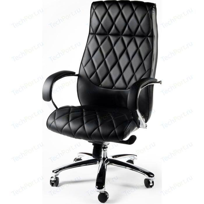 Кресло офисное NORDEN Бонд black сталь + хром/черная экокожа