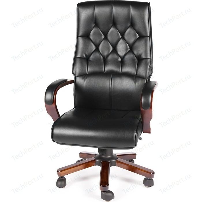 Кресло офисное NORDEN Ботичелли/дерево/черная экокожа