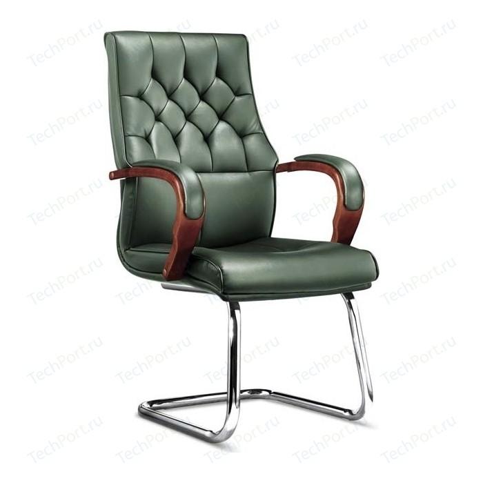 Кресло офисное NORDEN Ботичелли CF/ дерево/зеленая экокожа