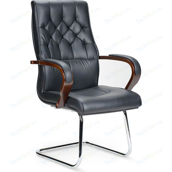 Кресло офисное NORDEN Ботичелли CF/ дерево/черная экокожа