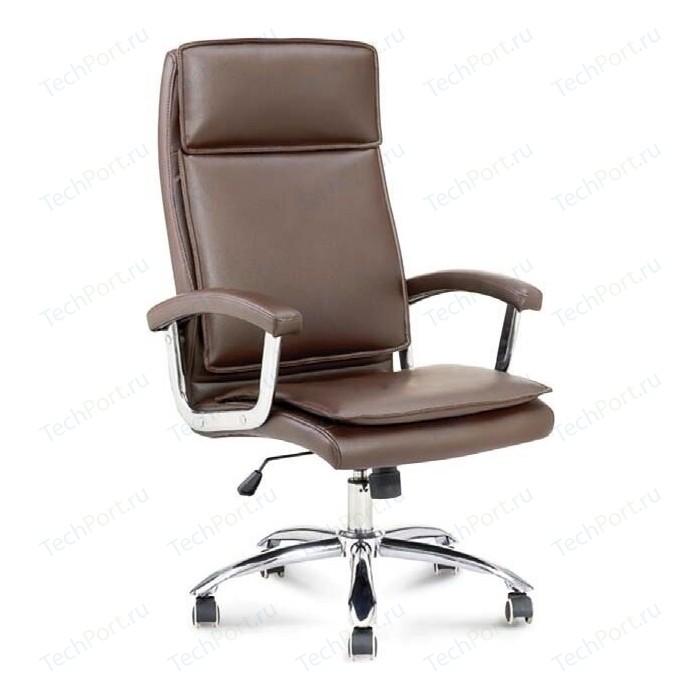 Кресло офисное NORDEN Вашингтон сталь + хром/коричневая экокожа