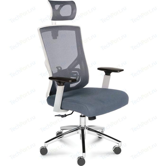 Кресло офисное NORDEN Гарда белый пластик/серая сетка/серая сидушка