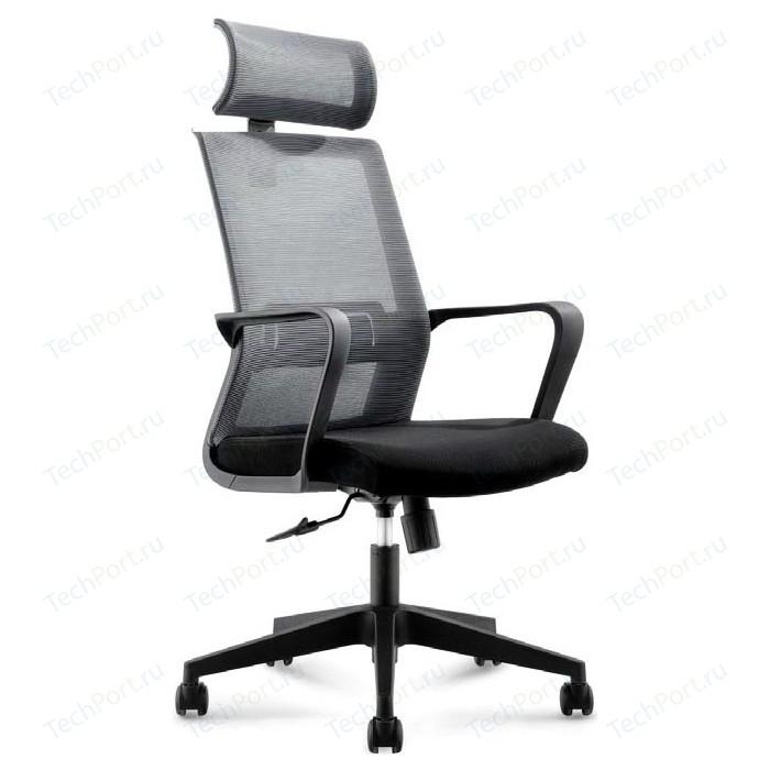 Кресло офисное NORDEN Интер база нейлон/черный пластик/серая сетка/черная ткань