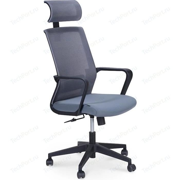Кресло офисное NORDEN Интер база нейлон/черный пластик/серая сетка/серая ткань стул союз мебель см 8 каркас черный ткань серая 2 шт