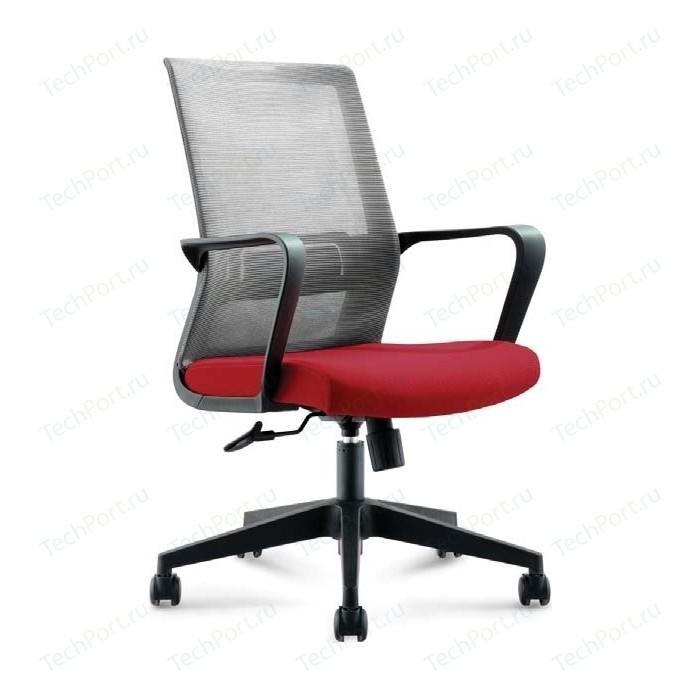 Кресло офисное NORDEN Интер LB/ черный пластик/серая сетка/вишневая ткань