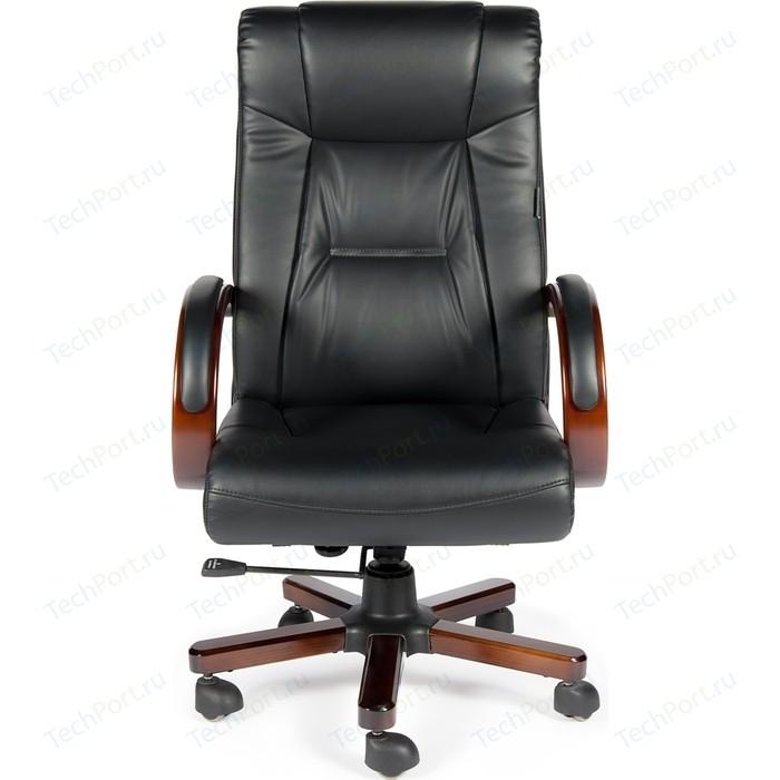 Кресло офисное NORDEN Консул дерево/черная экокожа