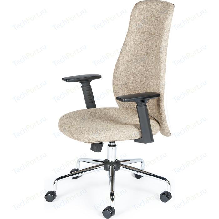 Кресло офисное NORDEN Милан хром крестовина/черные подлокотники/бежевая ткань W 1001-2