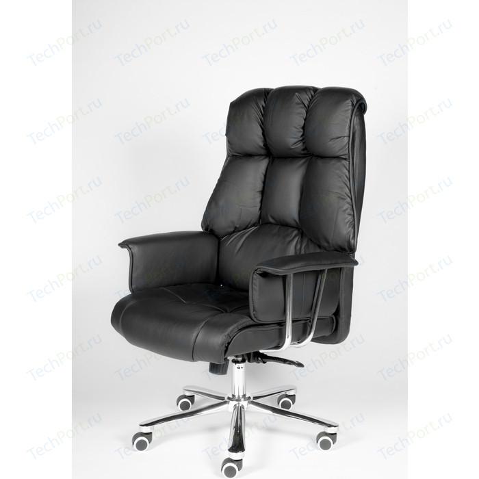 Кресло офисное NORDEN Президент сталь + хром/черная экокожа