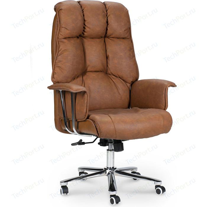 Кресло офисное NORDEN Президент сталь + хром/коричневая №321 экокожа