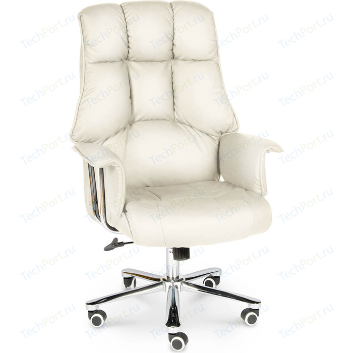 Кресло офисное NORDEN Президент сталь + хром/слоновая кость экокожа