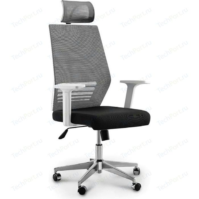 Кресло офисное NORDEN Престиж белый пластик/серая сетка/черная ткань (база нейлон)