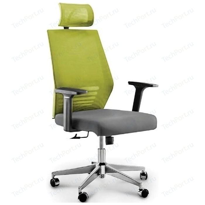 Кресло офисное NORDEN Престиж black/ черный пластик/зеленая сетка/серая ткань
