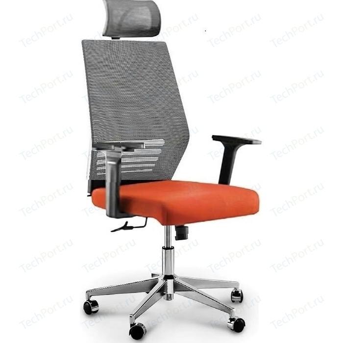Кресло офисное NORDEN Престиж black/ черный пластик/серая сетка/оранжевая ткань