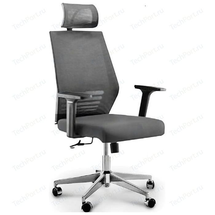 Кресло офисное NORDEN Престиж black/ черный пластик/серая сетка/серая ткань стул союз мебель см 8 каркас черный ткань серая 2 шт