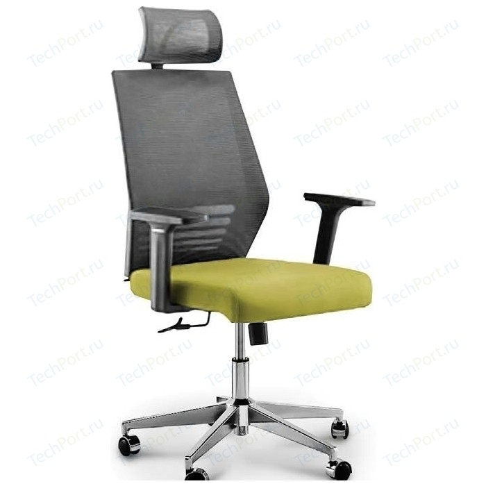 Кресло офисное NORDEN Престиж black/ черный пластик/серая сетка/зеленая ткань